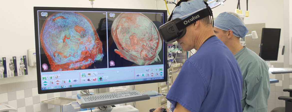 Surgeons use VR to assist in procedures.